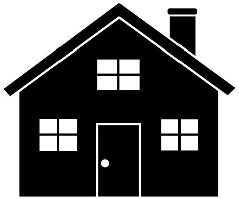 black and white home white house clipart