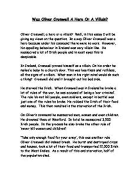 Oliver Cromwell Essay by Was Oliver Cromwell A Or A Villain Gcse Marked By Teachers