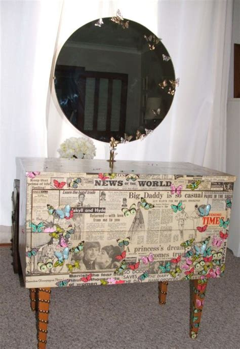 Newspaper Decoupage - newspaper butterflies decoupage 60s vtg dressing table