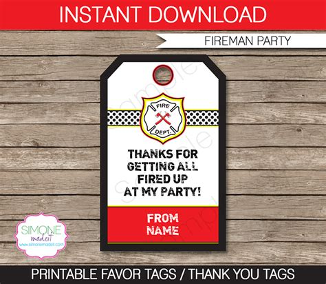 fireman party favor tags thank you tags birthday party