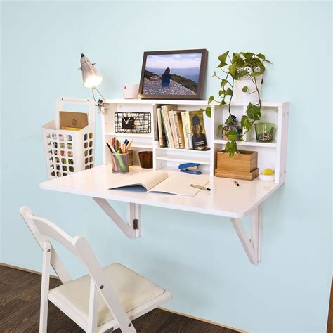 fold desk with storage sobuy folding wall mounted drop leaf table desk with