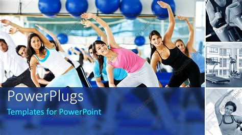 powerpoint template group zumba class yoga exercise