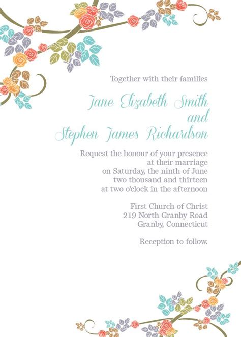 flower invitations templates free coral teal orange green and brown floral border free