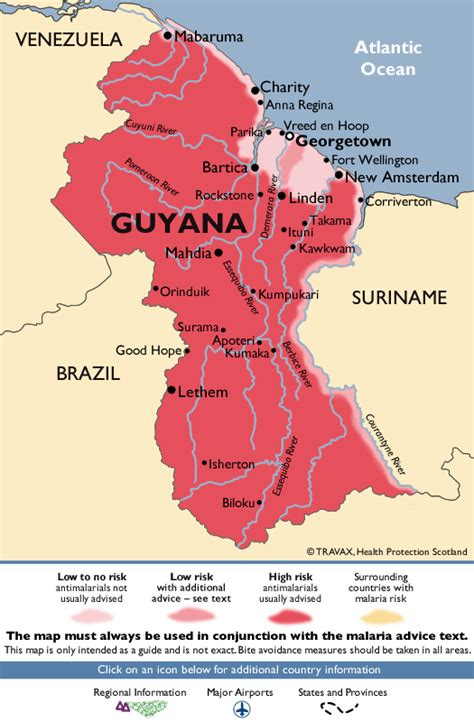 malaria south america map guyana malaria map fit for travel