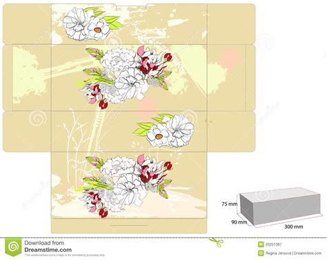 Template For Box With Flowers Royalty Free Stock Photography Image 20251387 Flower Box Template