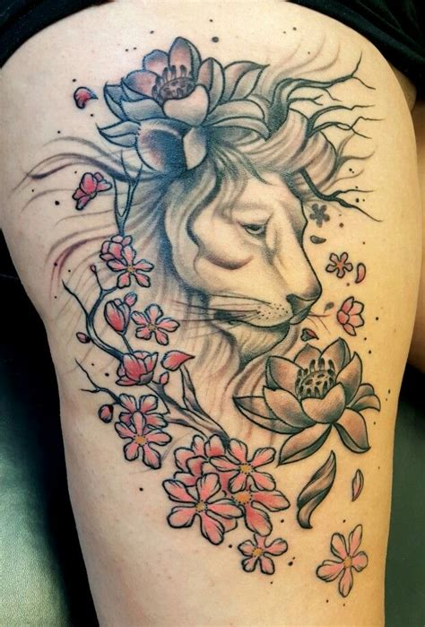 lotus tattoo with lion lion lotus cherry blossom tattoo tattoos by garry