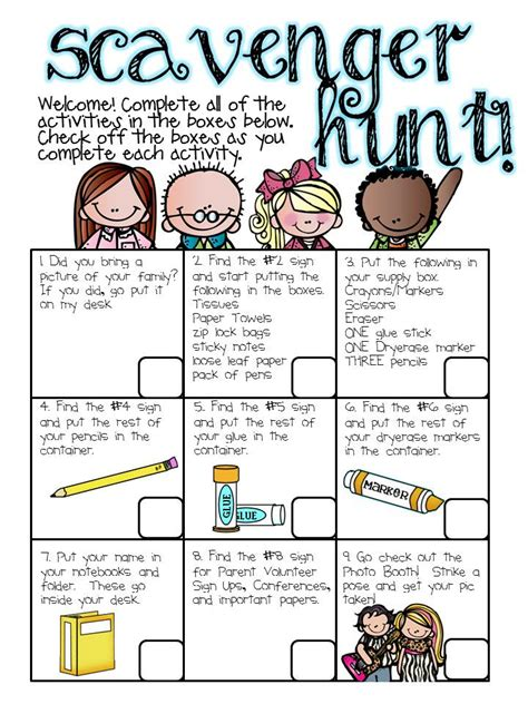 printable open house scavenger hunt first grade curriculum first grade and curriculum on