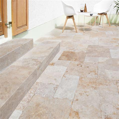 terrassenplatten 6cm terrassenplatten travertin castine maron getrommelt