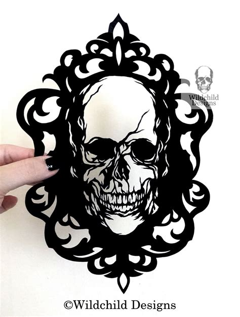 Cameo Skull Gothic Halloween Silhouette Paper Cutting Template Silhouette Templates For Paper Cutting