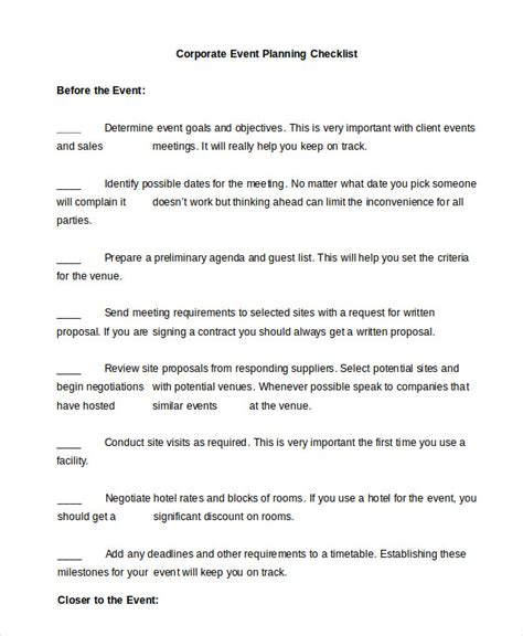 corporate event planning checklist template event planning checklist 11 free word pdf documents