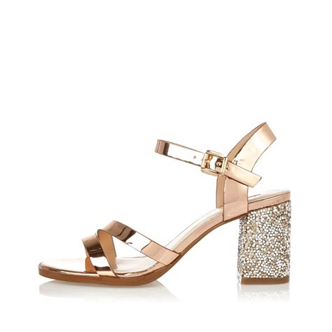 sparkly heeled sandals lyst river island gold glitter block heel sandals