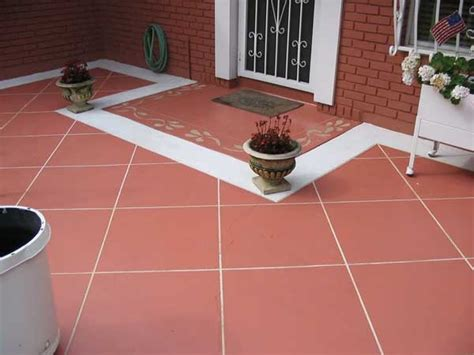 terracotta patio with engraved tile tile patterns