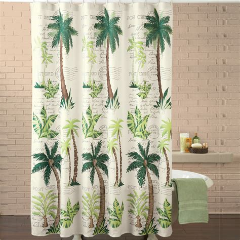 palm tree shower curtain hooks tropical oasis palm tree shower curtain by collections