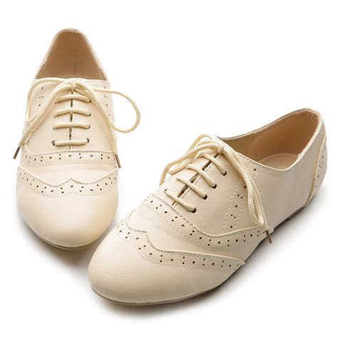 ollio womens classic dress oxfords low flats heels lace up