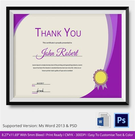 thank you certificate templates free thank you certificate template 10 free pdf psd vector