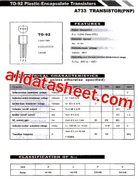 transistor a733 equivalente a733 datasheet pdf list of unclassifed manufacturers