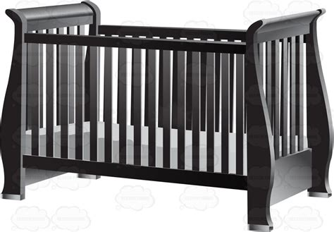 Grey Baby Cribs Clipart An Fashioned Gray Baby Crib With Mattress