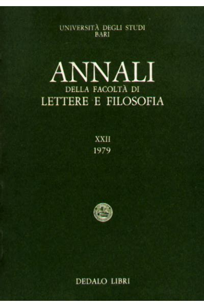 lettere bari annali della facolt 224 di lettere e filosofia dell