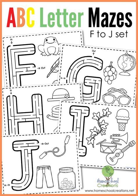 printable maze letter d alphabet mazes letters f to j