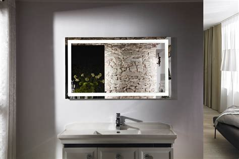 bathroom lighted mirror budapest iv lighted vanity mirror led bathroom mirror