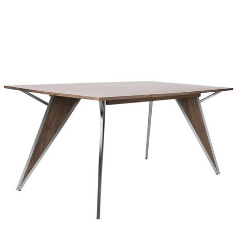Contemporary Wood Dining Table Lumisource Tetra Contemporary Dining Table In Walnut Wood And Stainless Steel