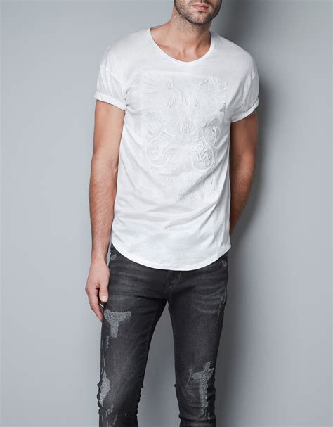 Tshirt Mens White Front zara tshirt with embroidered front in white for lyst