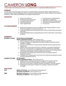 human resources manager resume exles human resources