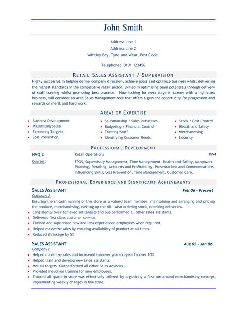 assistant resume sles sle resume for retail sales assistant images
