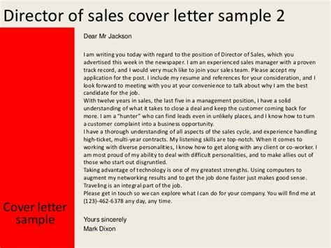 director of sales cover letter director of sales cover letter