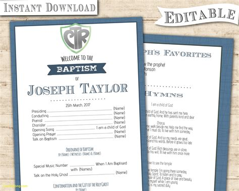 baptism program template awesome lds baptism program template best templates