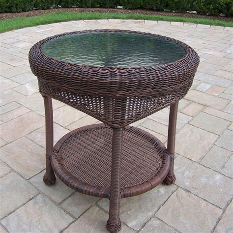 Resin Wicker Patio Table Shop Oakland Living Resin Wicker 21 5 In W X 21 5 In L Wicker End Table At Lowes
