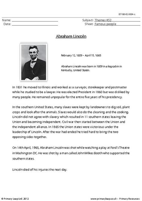 biography of abraham lincoln worksheet abraham lincoln comprehension primaryleap co uk