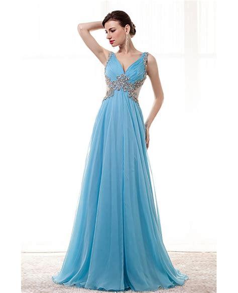 blue beaded dress flowy sky blue prom dress beaded with straps sheer