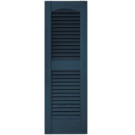 Builders Edge 12 In X 36 In Louvered Vinyl Exterior Home Depot Exterior Shutters