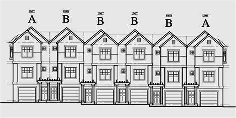 4 Plex Floor Plans Row House Plans Town Home Plans Six Units Tandem Garage