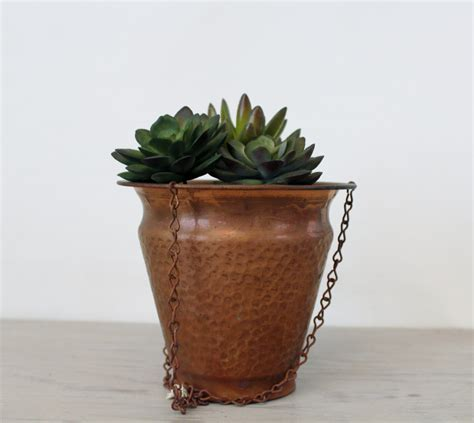 Copper Flower Planter by Vintage Copper Hanging Planter Hammered Copper Flower Pot