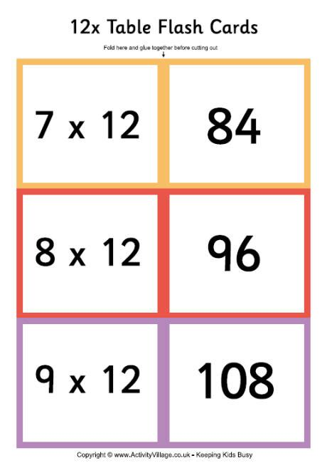 free printable multiplication flash cards up to 12 12 times table folding flash cards