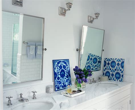 bathroom tiles blue and white pivot mirrors with blue and white tile bathroom