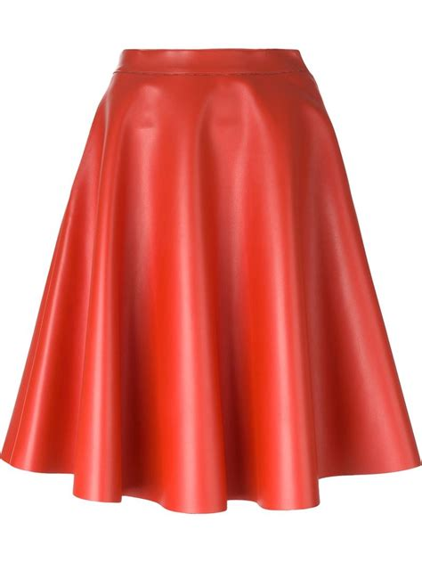 msgm faux leather skirt in orange lyst