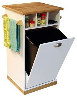 contemporary kitchen carts and islands mobile trash bin with butcher block top contemporary