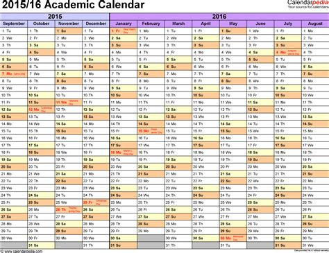 2015 2016 Academic Calendar Academic Calendars 2015 2016 As Free Printable Excel Templates