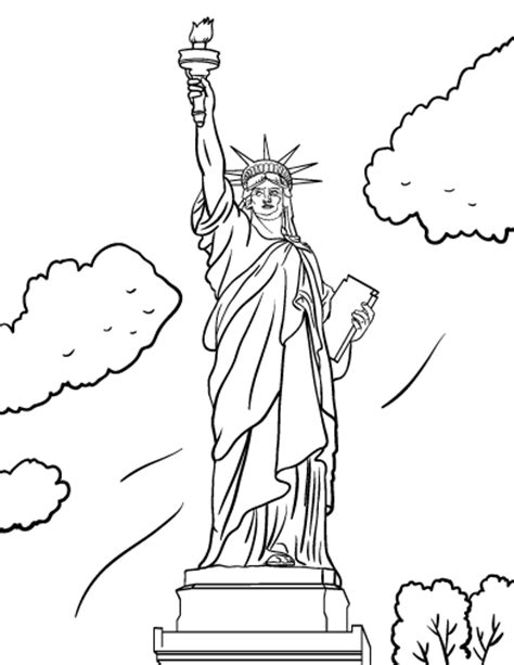 statue of liberty drawing template printable statue of liberty coloring page free pdf