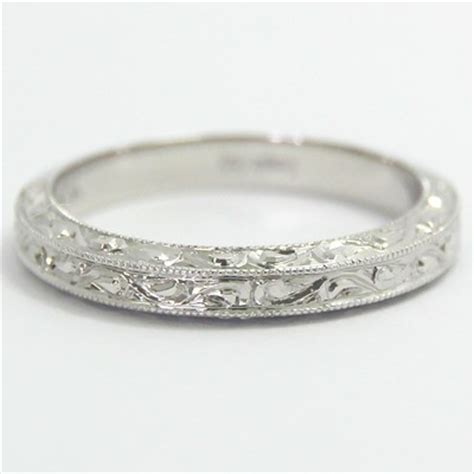 3 0mm intricate engraved wedding band 14k white gold