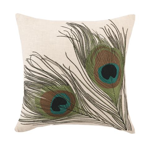 Peacock Feather Pillow by Peacock Feather Embroidered Square Pillow By D L Rhein