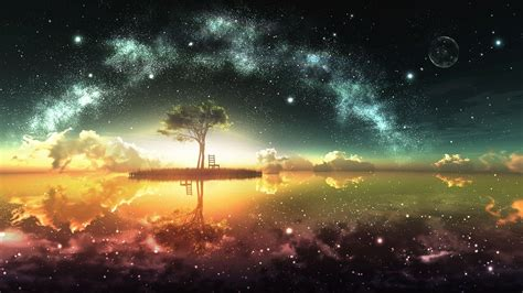 colorful night wallpaper small island under the colorful night sky walldevil