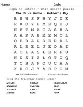 Mother's Day! Sopa de Letras - Word Search Puzzle by