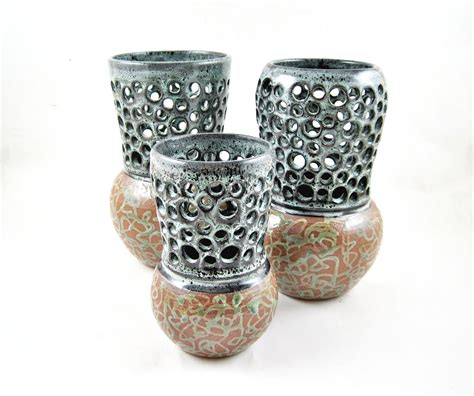 Handmade Pottery Vase - set of 3 handmade pottery vases bud vase home decor modern