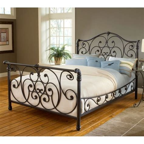 Metal Sleigh Bed Frame Iron Bed Frames Furniture Wrought Iron Sleigh Bed Headboard Siderails Frame Decor