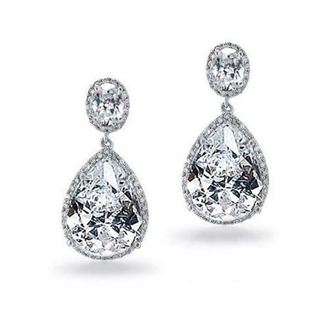 jewelry earrings silver tone vintage pear oval cz bridal earrings