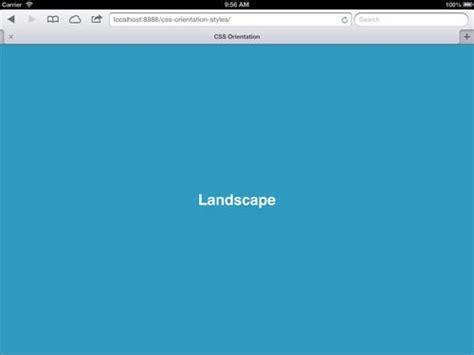 ipad css layout with landscape portrait orientations demo применяем css в зависимости от ориентации экрана